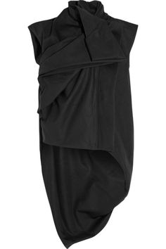 Rick Owens Drape West  Black cotton-canvas Concealed asymmetric zip fastening through front 100% cotton; lining: 100% polyester Dry clean Made in Italy