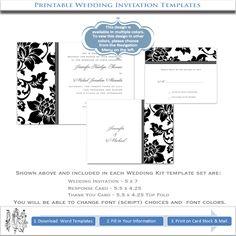 wedding invitations templates | Black Wedding Invitation Templates | Printable DIY Invitations