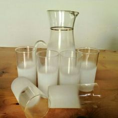 Mid Century Modern Blendo White Pitcher and Six by RetroRea