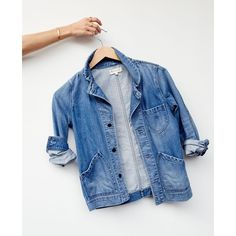 Joshua Tree Jean Jacket in Rossie Wash ❤ liked on Polyvore featuring outerwear, jackets, blue jean jacket, blue denim jacket, denim jacket, jean jacket and blue jackets