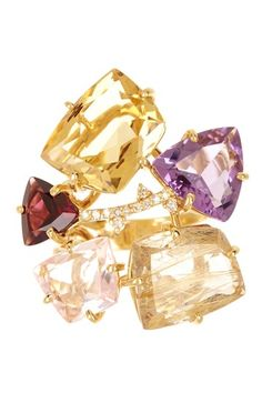 18K Yellow Gold Multi Gemstone Split Shank Diamond Ring - 0.08 ctw by Vianna Brasil on @HauteLook