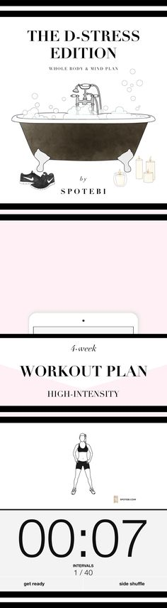 Follow our 4-Week D-Stress Workout Plan to burn excess fat and tone your whole body without losing your cool! Stay motivated, reduce anxiety and blast calories during the holidays or any other stressful time of the year! http://www.spotebi.com/workout-plans/4-week-d-stress-women/