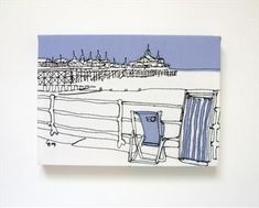 i love Gillian Bates' textile art...this is Eastbourne Pier  i have a row of pink beach huts...so cute...(wall postcards £35)