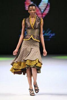 shweshwe skirts 2015 skirt by Bongiwe Walaza African Inspired Fashion, African Print Fashion, Africa Fashion, African Attire, African Wear, African Women, African Style, African Print Dresses, African Dress