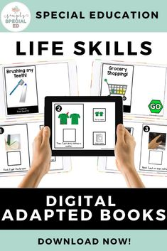 These digital life skills adapted books are a great way to learn and reinforce knowledge of life skills in the special education classroom. Topics include doing the laundry, folding pants, ordering food, using an oven and more! Folding Pants, Teaching Life Skills, Special Education Classroom, Social Skills, Elementary Schools, Middle School, School Ideas, Oven, Laundry