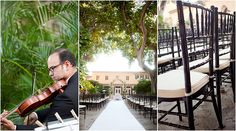 This trio shows the elegant details of a wedding held at The Addison in Boca Raton, FL. First, a violinist plays for the newlyweds and their guests. Second, the long aisle, with a pure white runner flanked by guest chairs and leading to a floral arch in front of the venue. Finally, the beautiful black cane-back chairs with ivory cushions set for the guests. The John Parker Band carried the elegant tone into the evening, performing at the reception. http://www.jpband.com/weddings.html