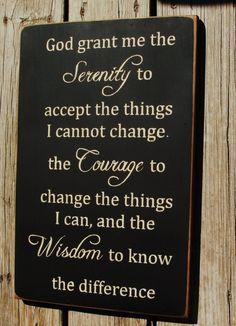 God grant me the serenity... vertical primitive wood sign