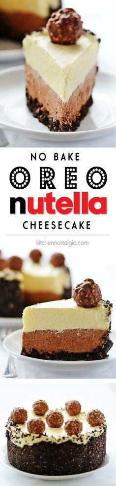 Nutella Oreo Cheesecake - divine no bake dessert with Oreo cookie crust, Nutella cheesecake layers and decorated with Ferrero Rocher chocolate candies No Bake Desserts, Easy Desserts, Delicious Desserts, Dessert Recipes, Yummy Food, Oreo Desserts, Baking Desserts, Baking Cookies, Oreo Cookies