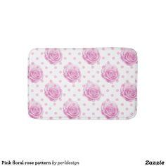 Pink floral rose pattern bathroom mat