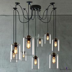 Retro Large Multi Light Pendant Light with Clear Cylindrical Shade