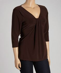 Another great find on #zulily! Brown Three-Quarter Sleeve Top - Plus by Avital #zulilyfinds