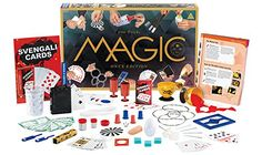 Magic Onyx Edition By Thames and Kosmos  This collection of magic props & illustrated instructions allows you to learn, practice, and master 200 illusions. A magical water glass delivers amazing illusions: A handkerchief materializes, water changes color, liquid turns into fabric, and one playing card changes into another. Levitate yourself, hypnotize an arm, bend and restore metal. Video tutorials for the tricks are available online.