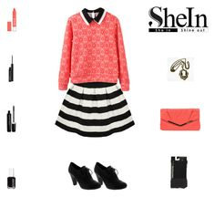 """""""SheIn Contest: Black, White & Coral Outfit"""" by billsacred ❤ liked on Polyvore featuring Gunne Sax By Jessica McClintock, Essie, MAC Cosmetics, Marc Jacobs, women's clothing, women, female, woman, misses and juniors"""