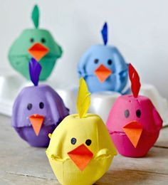 Spring Chicks Egg Carton Craft - Typically Simple Using something old, making something new! These super cute egg carton chicks are the perfect kids' craft for spring. Need excellent ideas about arts and crafts? Spring Crafts For Kids, Bunny Crafts, Easter Crafts For Kids, Toddler Crafts, Crafts To Do, Preschool Crafts, Children Crafts, Egg Crafts, Easter Activities