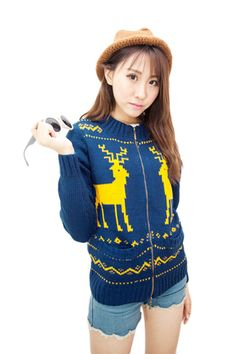 Womens Blue Close-Fitting Knitted Reindeer Christmas Sweater Coat #Cheap Sweaters #2014 outfit,sweaters for fall,sweaters #girls,#chic sweaters #womens,cute sweaters for teens,#cute sweaters with leggings,fashion #sexy sweaters #party,#sweater #ugly #christmas jumper,holiday reindeer sweater pinkqueen.com
