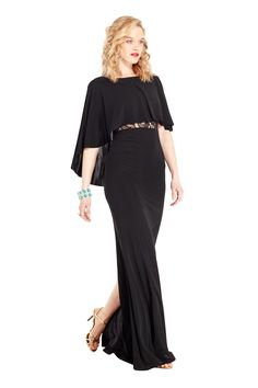Sona Cape Inspired Gown l Shop Dresses from ABS by Allen Schwartz