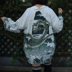Kimono Shirt, Kimono Cardigan, Harajuku Mode, Harajuku Fashion, Stylish Outfits, Cute Outfits, Fashion Outfits, Womens Fashion, Alternative Outfits