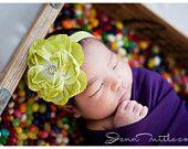 Newborn Headbands..Baby Girls Headbands..Baby headbands..Infant..Lime Headbands..Flower Headbands..Newborn Headbands..Lime Green..Hair Bows