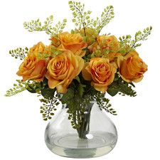 Rose and Maiden Hair Floral Arrangement with Vase