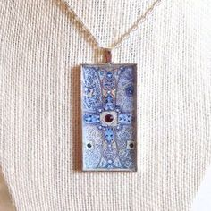 Cross Pendant with Garnet, Medieval Cross Necklace, Mixed Media Art Cross Pendant with Fire Opal, Gift for Her, Cross Pendant on Rope Chain #MedievalCross #RopeChain #MixedMedia #GiftForHer #CrossNecklace #Necklace #CrossPendant #SilverPlate #MedievalManuscript #HolidayGift