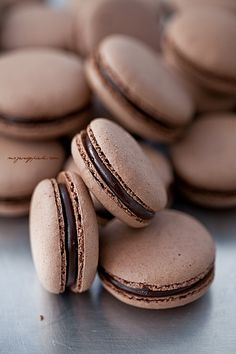 Dusty rose macarons with chocolate filling French Macarons Recipe, Macaron Recipe, Fudge, Delicious Desserts, Dessert Recipes, Chocolate Macaroons, Chocolate Lovers, Chocolate Filling, Decadent Chocolate