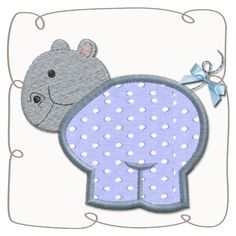 Hippo Applique Machine Embroidery Design Pattern-INSTANT DOWNLOAD