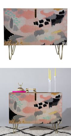 Are you a big fan of imaginative abstract art? The Sapporo Credenza might just be the ideal addition to your semi-contemporary living space with a smattering of mid-century inspiration. This stunning b...  Find the Sapporo Credenza, as seen in the #SoftSideofMidCentury Collection at http://dotandbo.com/collections/soft-side-of-mcm?utm_source=pinterest&utm_medium=organic&db_sku=127806