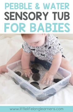 Pebble and water sensory tub for babies | Easy and simple play ideas for babies who can sit | Water play ideas for Summer babies | 7 month, 8 month, 9 month, 10 month, 11 month, 12 month and 1 year old play ideas |