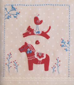 Lovely red pony hand embroidery stitch sewing by msirisook on Etsy
