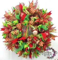 Deluxe Deco Mesh CHRISTMAS Wreath for Wall por SouthernCharmWreaths