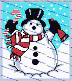 Snowman With Bell Graph by KarlasCreationsGraph on Etsy