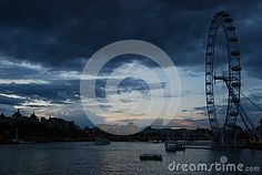 London sunset skyline with London Eye and a lot of space for your text