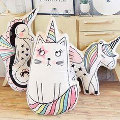 Cute Unicorn Cat, Seahorse, Ice cream, or Alicorn Pillow Unicorn Pillow, Unicorn Cat, Cat Pillow, Cute Unicorn, Cushion Pillow, Cartoon Unicorn, Tooth Cartoon, Plush Pillow, Rainbow Unicorn