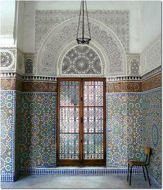 A quiet corner in the Great Mosque of Paris  http://islamic-arts.org/2012/great-mosque-of-paris/