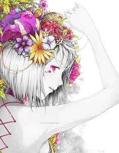 this is quite the lovely anime girl with pretty flowers. She looks quite pretty.