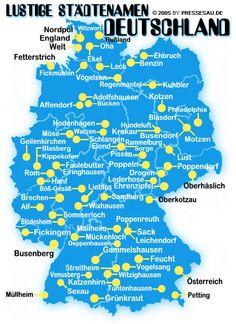 Lustige Ortsnamen in Deutschland - Teil 1 (z.B. Tuntenhausen, Amerika, Nordpol, Russland, Rom, Österreich, Faulebutter, Kotzen)