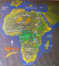 Nice map to use to show the voyages of Portuguese sailors up to de Gama...Africa