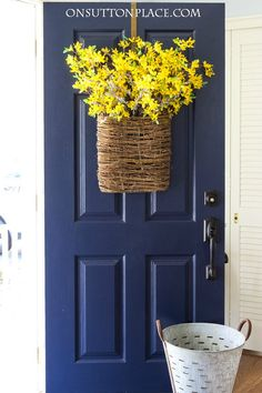Spring Forsythia Door Basket | Make this in just a few minutes. It's a show stopper from the street and totally DIY!