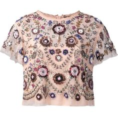 Needle & Thread floral embellished cropped blouse ($445) ❤ liked on Polyvore featuring tops, blouses, embellished tops, flower print crop top, pink floral top, flower print blouse and floral tops