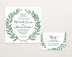 Watercolor Leaves Wreath Wedding Invitation Suite Square