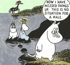 Moomin comic strips by Tove Jansson Moomin Valley, Tove Jansson, Fictional World, Cartoon Games, A Comics, Comic Character, Fantasy Creatures, That Way, Comic Strips