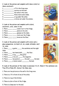 House and Furniture: There is/are. - English ESL Worksheets for distance learning and physical classrooms English Grammar Worksheets, Learn English Grammar, English Vocabulary, Grammar Exercises, English Exercises, Grammar Practice, Grammar Lessons, Grammar Rules, English Activities