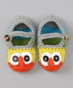 Orange Owl Crochet Booties