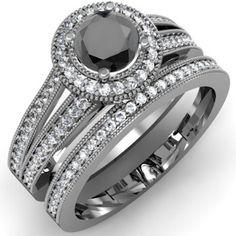 Black Diamond Ladies Split Shank Halo Style Bridal Engagement Ring Set | From Blog: 25 Black Diamond Engagement Rings via InkedWeddings.com