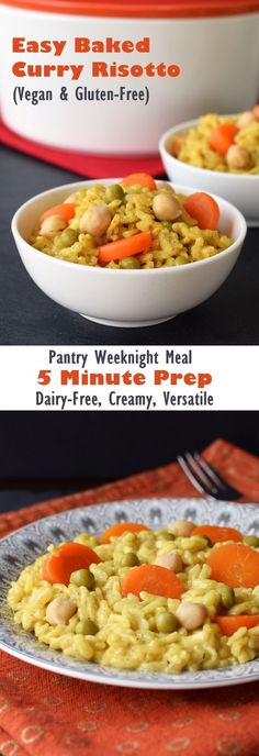 Vegan Baked Curry Risotto - Easy 5-Minute Prep, Gluten-Free, Dairy-Free, Creamy and Delicious Weeknight Meal! Uses Everyday Pantry Ingredients.
