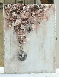 cynkowe poletko: z okazji - amazing mixed media folding frame. Mixed Media Artwork, Mixed Media Collage, Mixed Media Canvas, Altered Canvas, Altered Art, Paper Art, Paper Crafts, Shabby Chic Cards, Altered Boxes