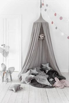 Grey canopy by Sebra Interior. Children's hanging canopy beautiful above a bed or in a playroom, children's room decor Cottage Toys UK