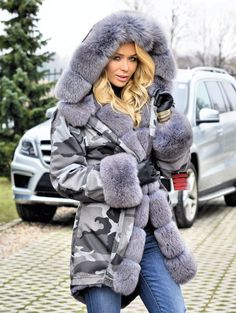 american parka with fur - american comouflage army parka with fox fur coat