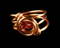 Copper wire wrapped ring with a baltic amber by RadFabrications, $15.00