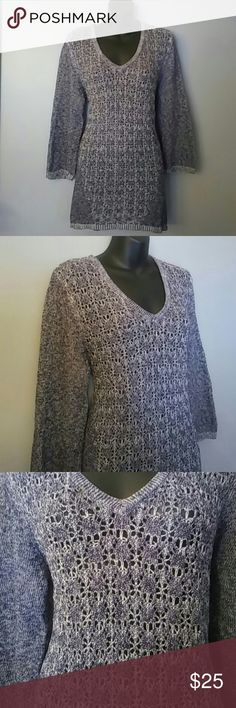 "BEAUTIFUL blue LOOSE weave SWEATER Xlarge Cable and gauge beautiful sweater in very good condition..has a loose weave in front..would look great with jeans or leggings.   BUST 46"" unstretched LENGTH 30""   Please feel free to ask any questions you may have..THANK YOU! HAPPY POSHING❤ Cable & Gauge Sweaters"
